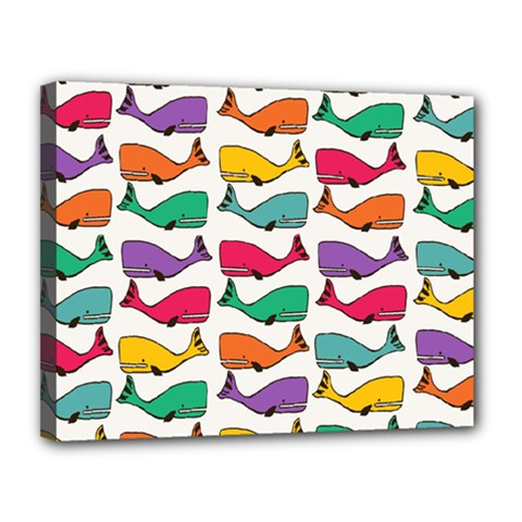 Small Rainbow Whales Canvas 14  X 11  by Simbadda