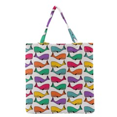 Small Rainbow Whales Grocery Tote Bag by Simbadda