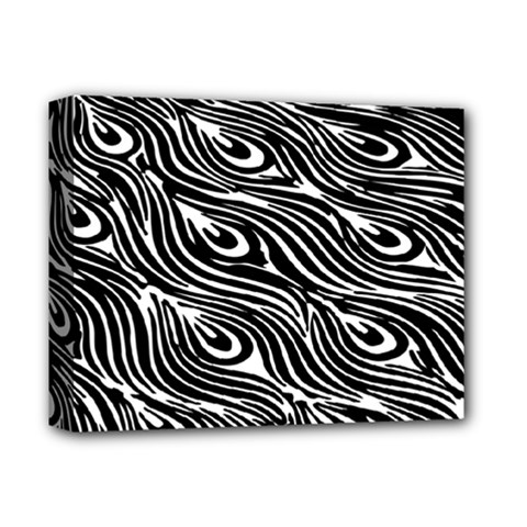 Digitally Created Peacock Feather Pattern In Black And White Deluxe Canvas 14  X 11  by Simbadda