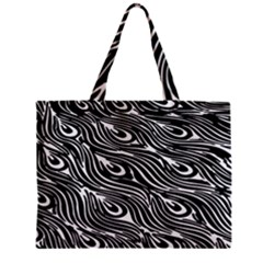 Digitally Created Peacock Feather Pattern In Black And White Zipper Mini Tote Bag by Simbadda