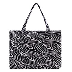 Digitally Created Peacock Feather Pattern In Black And White Medium Tote Bag by Simbadda