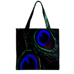 Peacock Feather Grocery Tote Bag by Simbadda