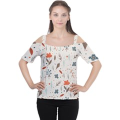 Seamless Floral Patterns  Women s Cutout Shoulder Tee by TastefulDesigns