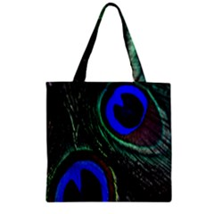 Peacock Feather Zipper Grocery Tote Bag by Simbadda