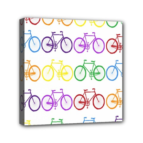 Rainbow Colors Bright Colorful Bicycles Wallpaper Background Mini Canvas 6  X 6  by Simbadda