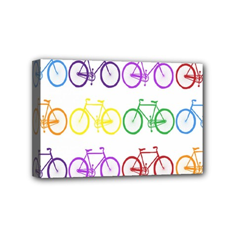 Rainbow Colors Bright Colorful Bicycles Wallpaper Background Mini Canvas 6  X 4