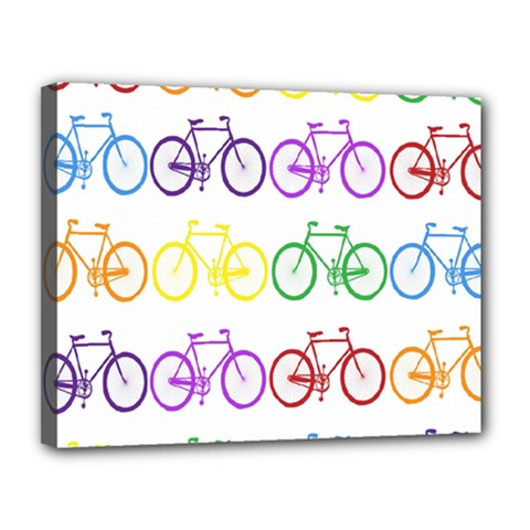 Rainbow Colors Bright Colorful Bicycles Wallpaper Background Canvas 14  X 11  by Simbadda
