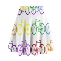 Rainbow Colors Bright Colorful Bicycles Wallpaper Background High Waist Skirt by Simbadda