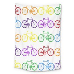 Rainbow Colors Bright Colorful Bicycles Wallpaper Background Large Tapestry by Simbadda