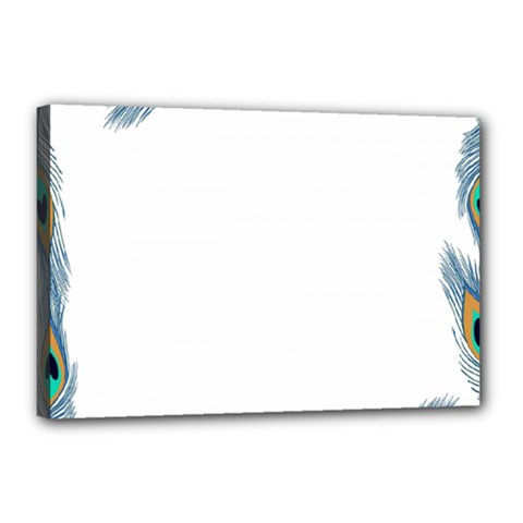 Beautiful Frame Made Up Of Blue Peacock Feathers Canvas 18  X 12  by Simbadda