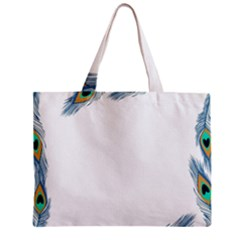 Beautiful Frame Made Up Of Blue Peacock Feathers Zipper Mini Tote Bag