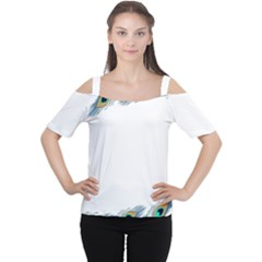 Beautiful Frame Made Up Of Blue Peacock Feathers Women s Cutout Shoulder Tee