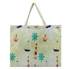 Vintage Seamless Nautical Wallpaper Pattern Zipper Large Tote Bag by Simbadda