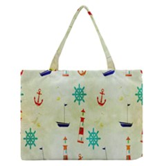 Vintage Seamless Nautical Wallpaper Pattern Medium Zipper Tote Bag by Simbadda