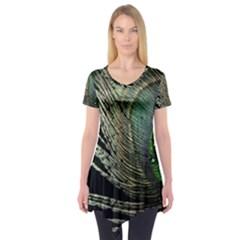 Feather Peacock Drops Green Short Sleeve Tunic  by Simbadda