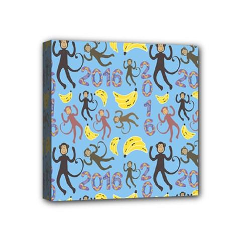 Cute Monkeys Seamless Pattern Mini Canvas 4  X 4  by Simbadda