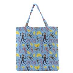 Cute Monkeys Seamless Pattern Grocery Tote Bag by Simbadda