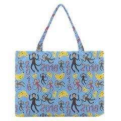 Cute Monkeys Seamless Pattern Medium Zipper Tote Bag by Simbadda
