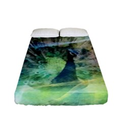Digitally Painted Abstract Style Watercolour Painting Of A Peacock Fitted Sheet (full/ Double Size) by Simbadda