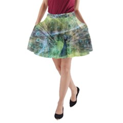 Digitally Painted Abstract Style Watercolour Painting Of A Peacock A Line Pocket Skirt by Simbadda