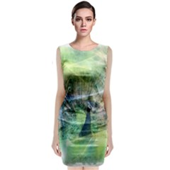 Digitally Painted Abstract Style Watercolour Painting Of A Peacock Classic Sleeveless Midi Dress