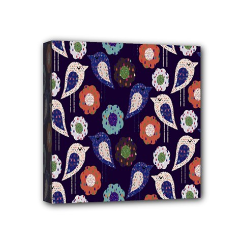 Cute Birds Pattern Mini Canvas 4  X 4  by Simbadda