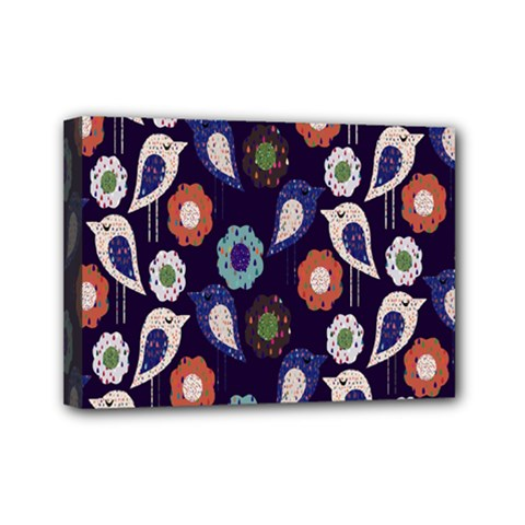 Cute Birds Pattern Mini Canvas 7  X 5  by Simbadda