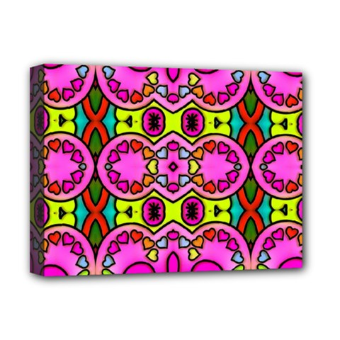 Love Hearths Colourful Abstract Background Design Deluxe Canvas 16  X 12   by Simbadda
