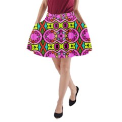 Love Hearths Colourful Abstract Background Design A Line Pocket Skirt by Simbadda