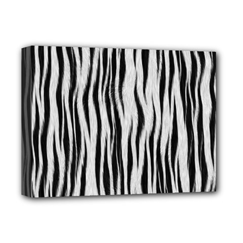 Black White Seamless Fur Pattern Deluxe Canvas 16  X 12   by Simbadda