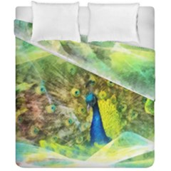 Peacock Digital Painting Duvet Cover Double Side (california King Size) by Simbadda