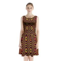 Vibrant Pattern Sleeveless Chiffon Waist Tie Dress by Simbadda