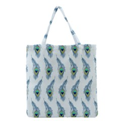 Background Of Beautiful Peacock Feathers Wallpaper For Scrapbooking Grocery Tote Bag by Simbadda