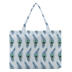Background Of Beautiful Peacock Feathers Wallpaper For Scrapbooking Medium Tote Bag by Simbadda