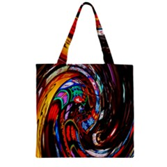 Abstract Chinese Inspired Background Zipper Grocery Tote Bag
