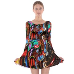 Abstract Chinese Inspired Background Long Sleeve Skater Dress