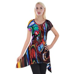 Abstract Chinese Inspired Background Short Sleeve Side Drop Tunic