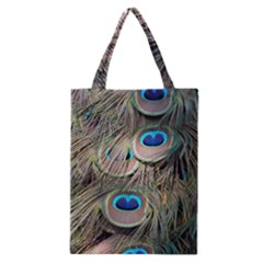 Colorful Peacock Feathers Background Classic Tote Bag by Simbadda