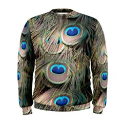 Colorful Peacock Feathers Background Men s Sweatshirt