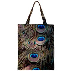 Colorful Peacock Feathers Background Zipper Classic Tote Bag by Simbadda
