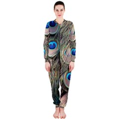 Colorful Peacock Feathers Background Onepiece Jumpsuit (ladies)