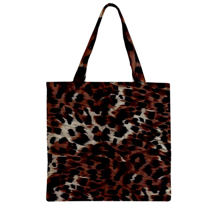Background Fabric Animal Motifs Zipper Grocery Tote Bag