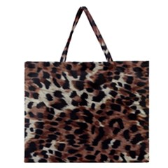 Background Fabric Animal Motifs Zipper Large Tote Bag by Simbadda