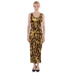 Seamless Animal Fur Pattern Fitted Maxi Dress