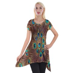 Peacock Pattern Background Short Sleeve Side Drop Tunic