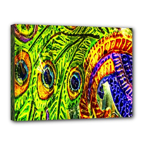 Glass Tile Peacock Feathers Canvas 16  X 12  by Simbadda