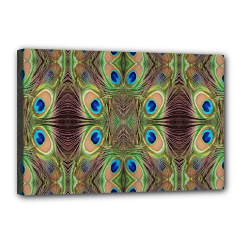 Beautiful Peacock Feathers Seamless Abstract Wallpaper Background Canvas 18  X 12  by Simbadda