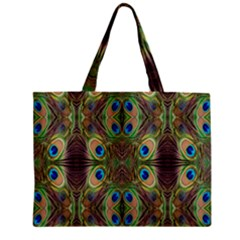 Beautiful Peacock Feathers Seamless Abstract Wallpaper Background Zipper Mini Tote Bag by Simbadda