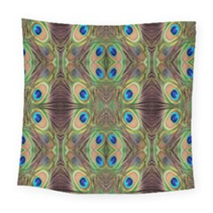 Beautiful Peacock Feathers Seamless Abstract Wallpaper Background Square Tapestry (large) by Simbadda