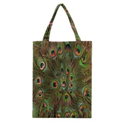 Peacock Feathers Green Background Classic Tote Bag by Simbadda